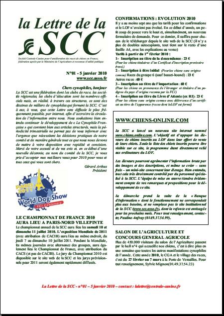 la Lettre de la SCC janvier 2010 (format .pdf)